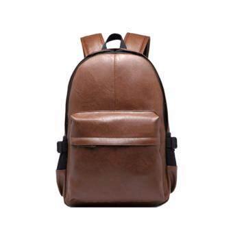 stmartshopกระเป๋าเป้สะพายหลังหนัง กระเป๋านักเรียนกระเป๋าคอมพิวเตอร์รุ่น stm9024 (สีน้ำตาล)