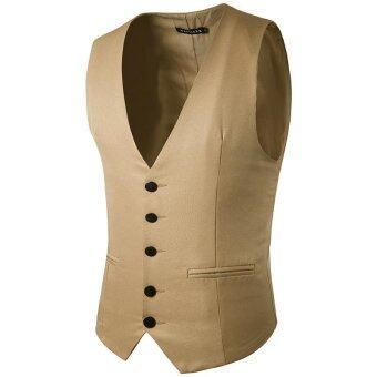 Stylish Men Jacket Suit Vest Slim Fit Vest Casual Business Formal Vest Waistcoat (Khaki) - intl