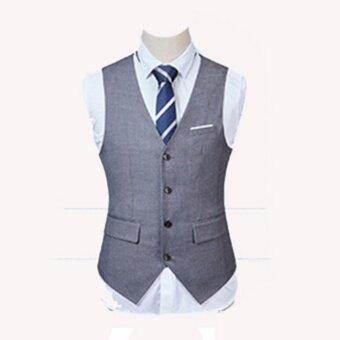Suitinter เสื้อกั๊ก แฟชั่น ผู้ชาย สไตน์เกาหลี เทา