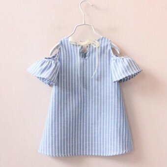 Summer Baby Girls Dress Cotton Casual Short Sleeve Striped OffShoulder Dresses - intl