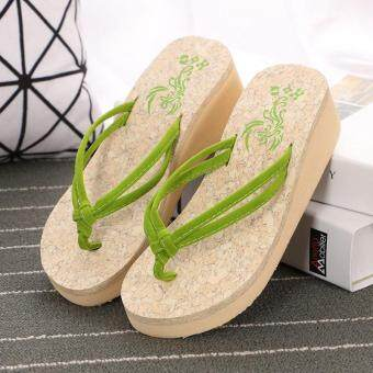 Harga Summer Fashion Wedges Platform Shoes Anti Slip Clip Drag ThickBottom Flip Flops Ladies Beach Shoes Pinch Pure Cool Slippers-Green - intl