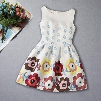 summer sleeveless print girl princess dress - intl