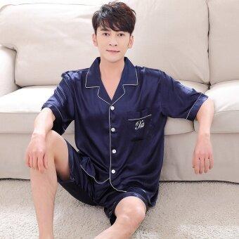 Summer Women Men Silk Loungewear Set Short Sleeve Shirt Shorts 2pcs Couple Sleepwear Nightgown - intl