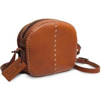 เสนอราคา กระเป๋าสะพายข้างหนังแท้ สำหรับผู้หญิง งานวินเทจ ใบกะทัดรัดพร้อมสายสะพาย งานแฮนเมด Sun Lifestyle SL330-2 (Brown)