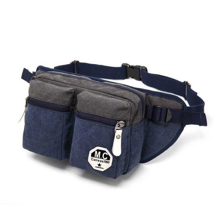 Sunday17 กระเป๋าคาดเอว กระเป๋าคาดอก Two-Tone Canvas รุ่น A6MC6053BL - สีน้ำเงิน