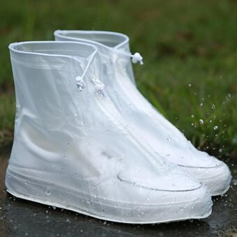 Sunshop Unisex Waterproof Protector Shoes Boot Cover Rain ShoeCovers High-Top Anti-Slip (White) - intl