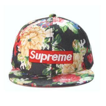 หมวกแก๊ป Supreme ลายดอก ดำ