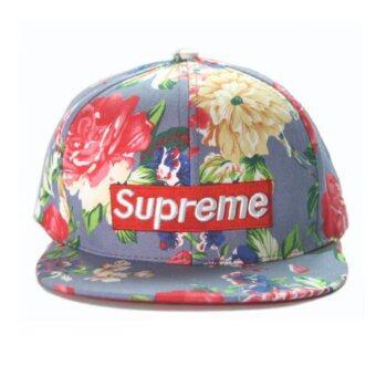หมวกแก๊ป Supreme ลายดอก ม่วงอ่อน