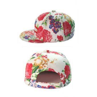 หมวกแก๊ป Supreme ลายดอก ขาว