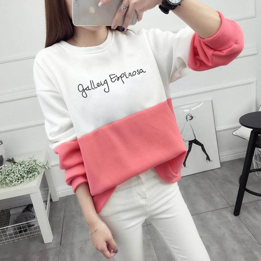 เสื้อกันหนาว Sweater สเวตเตอร์ เสื้อแขนยาวแฟชั่นพร้อมส่ง เสื้อแขนยาวแต่งสีขาวสลับชมพู แต่งสกรีนตัวอักษร +พร้อมส่ง+