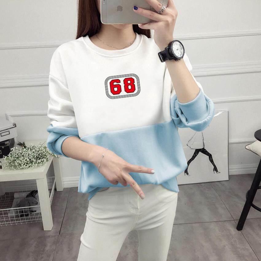 เสื้อกันหนาว Sweater สเวตเตอร์ เสื้อแขนยาวแฟชั่นพร้อมส่ง เสื้อแขนยาวแต่งสีขาวสลับฟ้า แต่งสกรีนลาย 68 +พร้อมส่ง