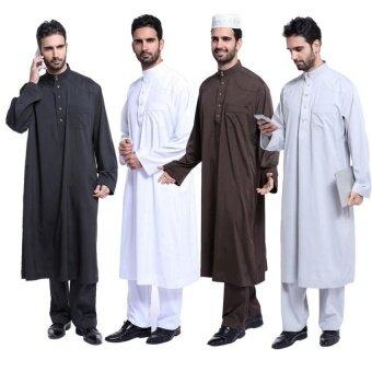 TF Muslim Arabia Middle East Mens Robe Set(Black)  - intl