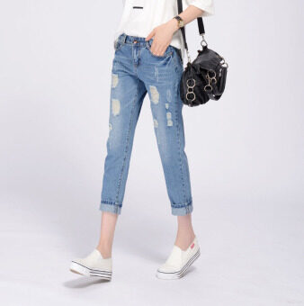 The 2016 Summer Women's Jeans Worn Comfortable Pants Skinny JeansNine (light Blue) - Intl
