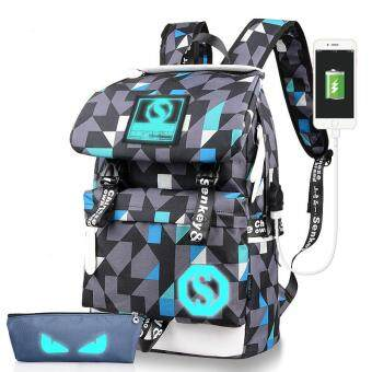 The New Korean Fashion Leisure Travel Bag Student Bag AcademyUnisex Large Capacity 2pcs(Grey)