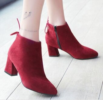 The new shoes with thick boots Martin boots female nude high heel boots casual Bottine (red wine) - intl