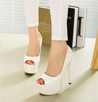 The new super high heels fish mouth leather female single shoes sandals (White) - intl