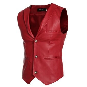 Three buttons suits vests men leisure self-cultivation leather vest - intl
