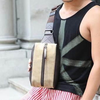 Tokyo Boy กระเป๋า คาดอก คาดไหล่ ผู้ชาย หนังPU ผสม ผ้า CANVAS รุ่น NG429 ( น้ำตาล/ดำ )
