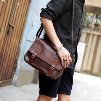Tokyo boy กระเป๋าสะพายไหล่ผู้ชาย สไตล์เรียบๆ แบบหนัง PU รุ่น NE101(สีน้ำตาลเข้ม)