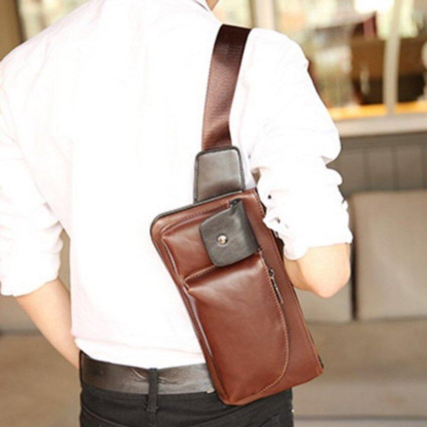 Tokyoboy  กระเป๋าหนัง PU ย้อนยุค คาด-อก คาดเอว สะพายไหล่ รุ่น NE73 (สีกาแฟเข้ม)