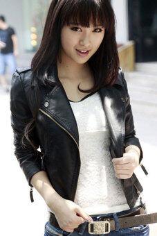 ผู้หญิงใส่เสื้อหนังมอเตอร์ไซค์ปู Toprankคอวีแขนเสื้อโค้ตยาวซิปเสื้อตัวนอกบางฤดู (สีดำ)