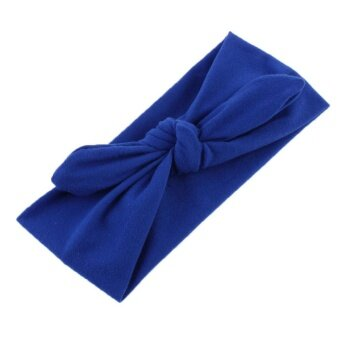 Toprank Ladies Twist Bow Headbands Elastic Head Wrap Support Hair Accessories ( Dark blue ) - intl