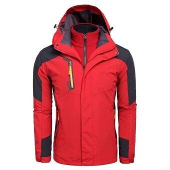 Toprank Men Hooded Long Sleeve Zip-up Thick Detachable Waterproof Mountain Windproof Outdoor Sports Jacket ( Red ) - intl