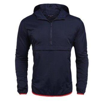 Toprank Men Sports Hooded Long Sleeve Zip-up Windbreaker Pullover Jacket Raincoat ( Blue ) - intl