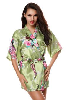 Toprank New Fashion Women Pajamas V-Neck Satin Loose Nightwear\nNightwear Robes (Green) - intl
