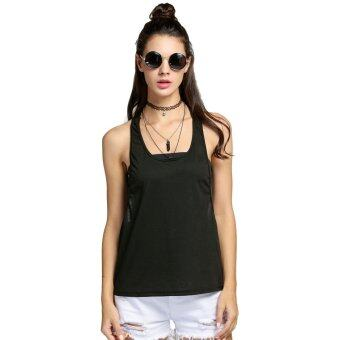 Toprank New Sexy Women Tank Tops Loose Gym Fitness Side Split Solid\nCasual Sports Tops ( Rose red ) - intl