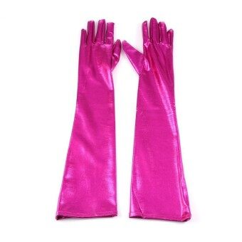 Toprank New Women Long Gloves Hip-pop Patent Leather Gloves for Clubwear Catsuit Cosplay Costumes Accessories - intl
