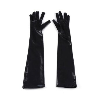 Toprank New Women Sexy Long Gloves Hip-pop Patent Leather Gloves for Clubwear Catsuit Cosplay Costumes Accessories ( Black ) - intl