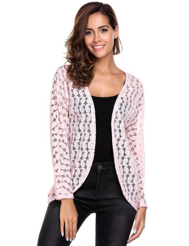 Toprank Women Casual Long Sleeve Lightweight See Through Lace Open Front Cardigan ( Pink ) - intl