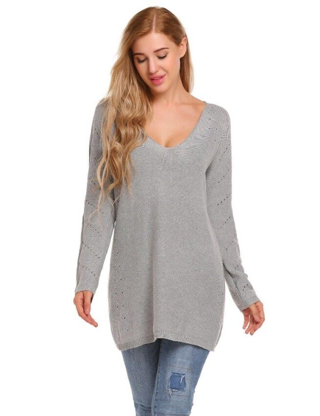 Toprank Women Casual V-Neck Long Sleeve Solid Hollow Out Loose Thread Hem and Cuffs Sweater ( Grey ) - intl