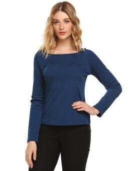 Toprank Women Fashion O-Neck Long Sleeve Solid Back Keyhole T-Shirt ( Navy Blue ) - intl