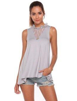 Toprank Women O-Neck Lace Patchwork Sleeveless Back Lace Up Asymmetrical Hem Vest Tops ( Grey ) - intl