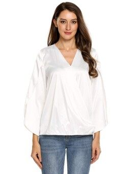 Toprank Women V-Neck Split Long Sleeve Faux Wrap Solid Satin Casual Loose Blouse ( White ) - intl