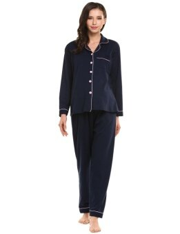 Topsellers365 Best For Maternity Nursing Breastfeeding Pajamas Set Long Sleeve Button-Down Shirt Top and Elastic Waist Bottom Sleepwear ( Dark blue ) - intl