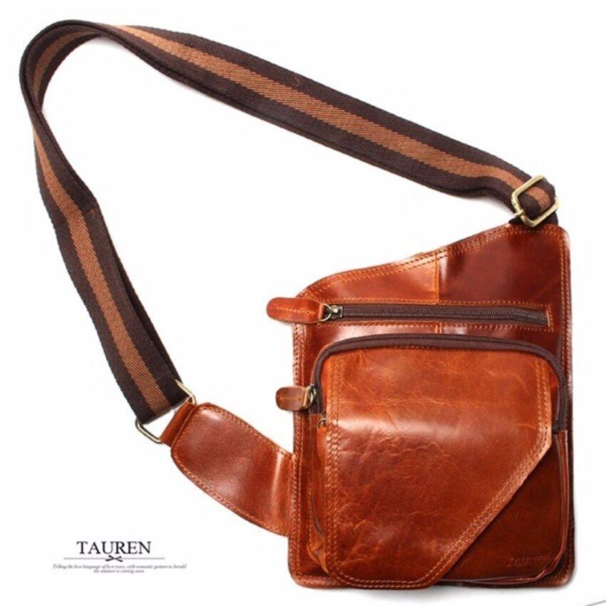 TRUSTY กระเป๋าหนัง กระเป๋าสะพายหนังแท้ รุ่น TAUREN 1963 ( Brown )