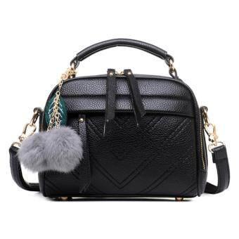 two brother กระเป๋าสะพายข้าง กระเป๋าเป้ผ้าไนลอน SKN607 Premium PU Leather Crossbody Bag black