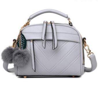 อยากขาย TWO BROTHER กระเป๋าสะพายข้าง กระเป๋าเป้ผ้าไนลอน SKN607 Premium PULeather Crossbody Bag- (gray)