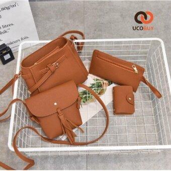 UcoBuy 101 4ใบใน1 เดียว คุณภาพระดับพรีเมียม แฟชั่น กระเป๋าถือ 4 in 1 (สีน้ำตาล)