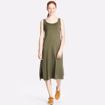 UNIQLO WOMEN ชุดกระโปรง เสริมบรา แขนกุด สีเขียว