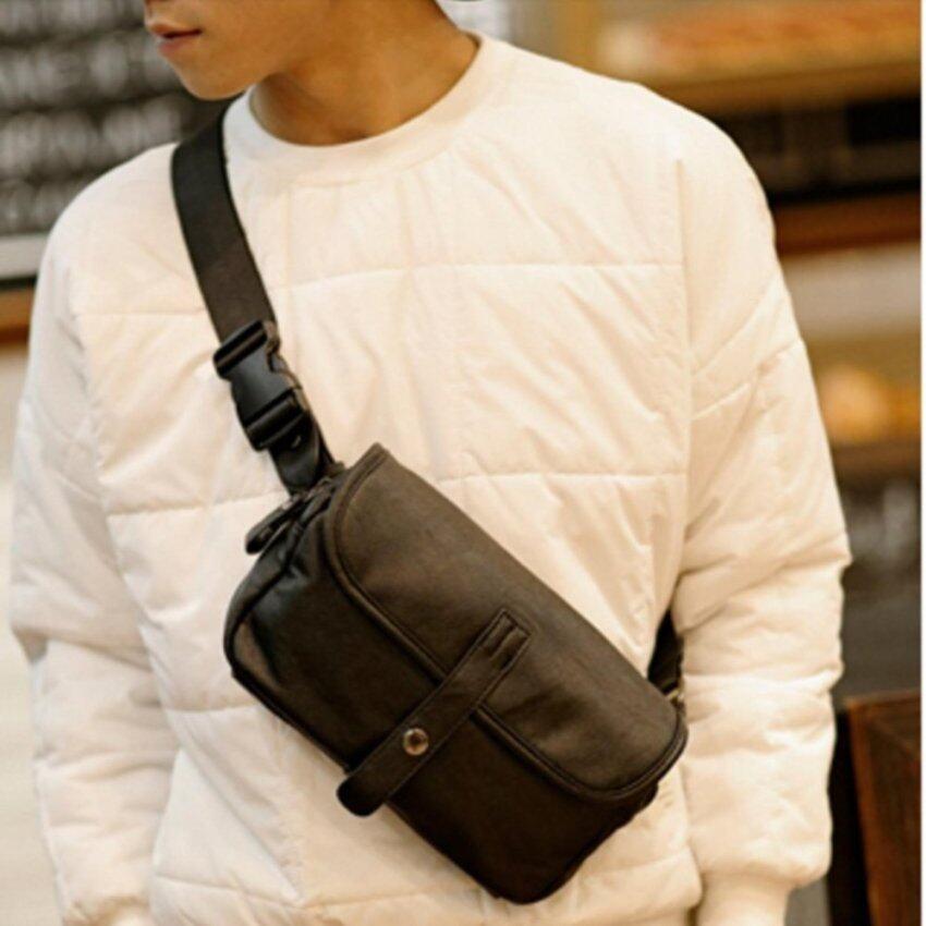 Upper กระเป๋า 2 IN 1 สะพายไหล่ / คาดอก คาดเอว ผู้ชาย แบบหนัง รุ่น NE506 (สีดำ)