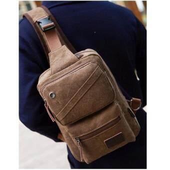 UPPER กระเป๋าคาดอก สะพายไหล่ ผ้าCanvas สำหรับบุรุษและสตรี รุ่น TK22 - สีน้ำตาลเข้ม