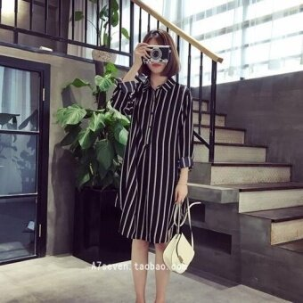 Harga UR Korea Korean fashion stripe big size dress Black - intl