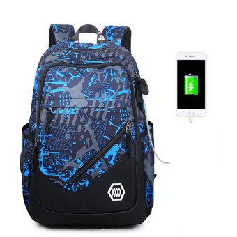 ชายโรงเรียนมัธยมกระเป๋านักเรียนกระเป๋าสะพายเกาหลี (USB สีฟ้าและสีเทาพิมพ์)