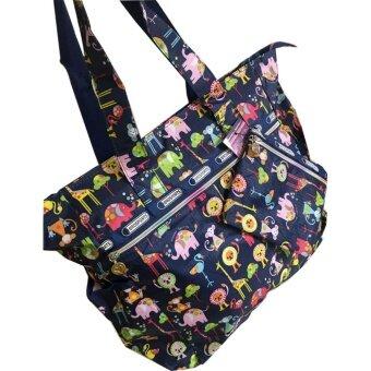 กระเป๋าถือใบใหญ่รุ่น V01 (zoo_blue)