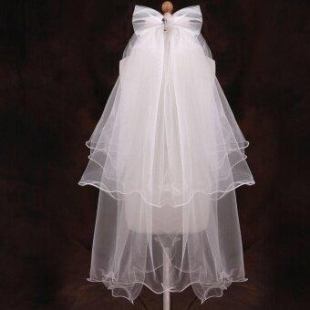 V2S7B Bridal Veil ผ้าคลุมผมเจ้าสาว 2 ชั้น โบว์ประดับเพชร (สีขาว)