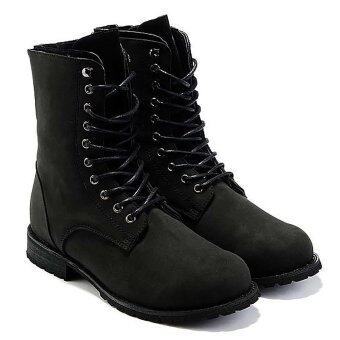 Vanker เรโทรแฟชั่นฤดูหนาวของเหล่าเด็กหนุ่มอังกฤษสไตล์ไฮเทคเสื้อรองเท้าบู๊ตทหาร (สีดำ)